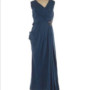 J Mendel Blue Beaded Side Blue Maxi Fancy Dress